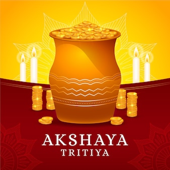 Akshaya tritiya illustration with golden coins