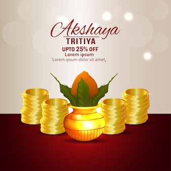 Akshaya tritiya sale promotion background with gold coin and kalash