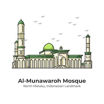 Al-munawaroh mosque indonesian landmark cute line illustration