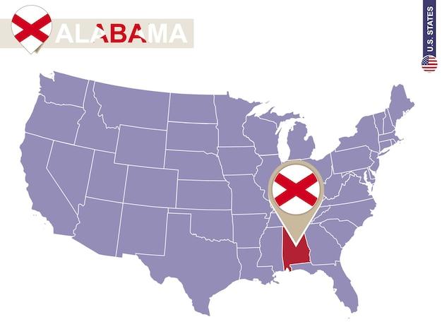 미국 지도에 앨라배마 주입니다. 앨라배마 플래그 및 지도입니다. 미국 주. 프리미엄 벡터