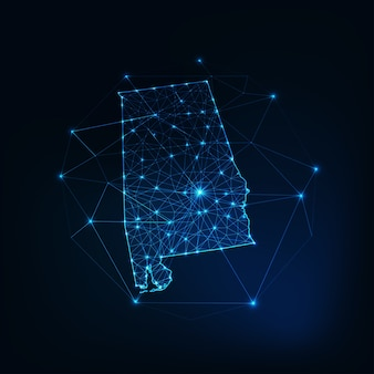 Карта штата алабама сша светящийся силуэт контур из звезд, линий, точек, треугольников, низких многоугольных форм. связь, концепция интернет-технологий. каркасный футуристический