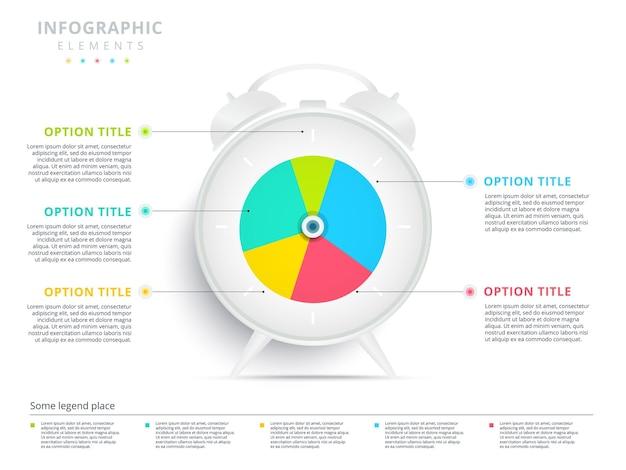 Будильник 5 шагов бизнес-процесса круговая диаграмма инфографика творческий корпоративный рабочий процесс круговой график
