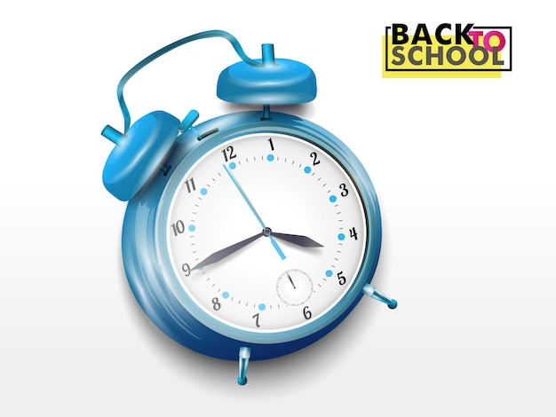 Alarm clock blue wakeup time isolated on background in flat style.