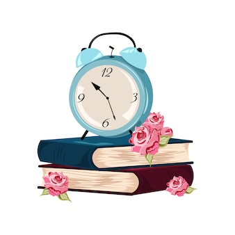 Alarm clock and books design Free Vector