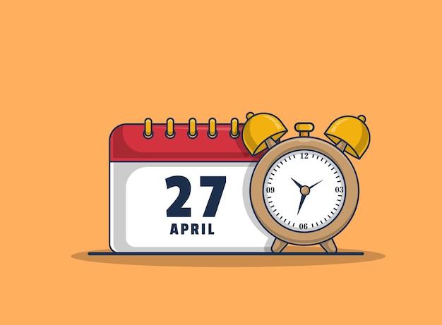 Alarm clock and calendar icon illustration