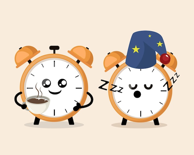 Alarm clock drink coffee in the morning cute mascot