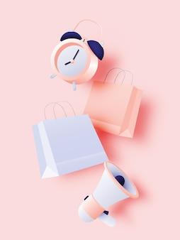 パステルカラーの販売バナーやプロモーションのための目覚まし時計