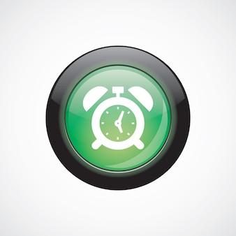 目覚まし時計ガラスサインアイコン緑の光沢のあるボタン。 uiウェブサイトボタン