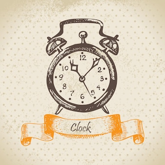 Alarm clock, hand drawn illustration