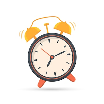 Alarm clock icon in a flat design with shadow