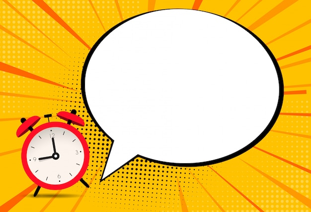 Alarm clock icon with speech bubble background.