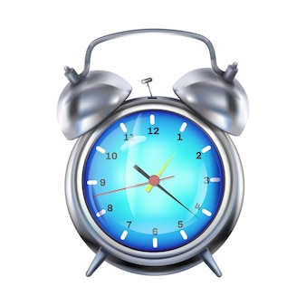 Alarm clock illustration of retro silver clock with metal bells.