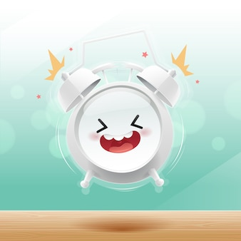 The alarm clock is happy in the morning on the bokeh