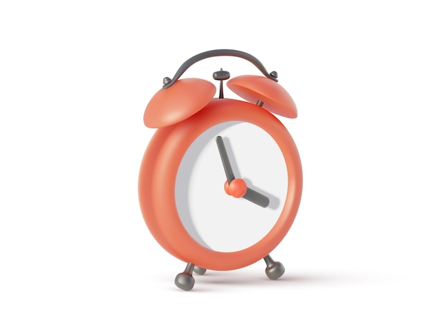 Alarm clock isolated on white background,  illustration