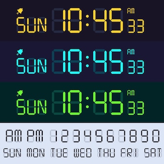 Alarm clock lcd display font. electronic clocks numbers, digital screen hours and minutes.