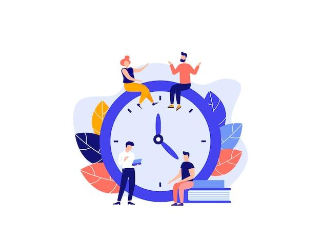 白い背景の目覚まし時計作業時間管理の概念クイックウェイクアップ反応