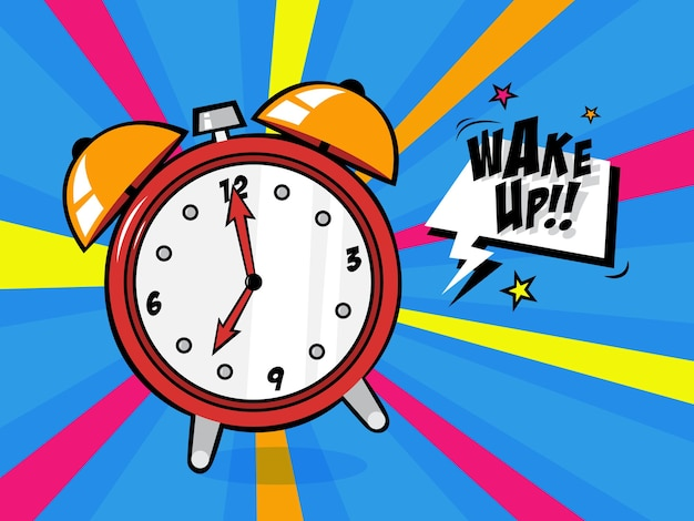Alarm clock in a pop art style. vintage wake up timer with bell ring.   illustration