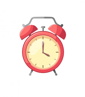 Alarm clock red isolated on white in flat style illustration