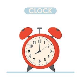 Утро времени будильника красное изолированное на предпосылке. красочный яркий цвет. иллюстрация вектора элемента дизайна.