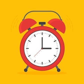 평면 스타일에서 배경에 고립 된 알람 시계 빨간 웨이크 업 시간. 삽화
