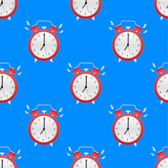 알람 시계 빨간색 기상 시간 패턴입니다. 벡터 일러스트 레이 션.
