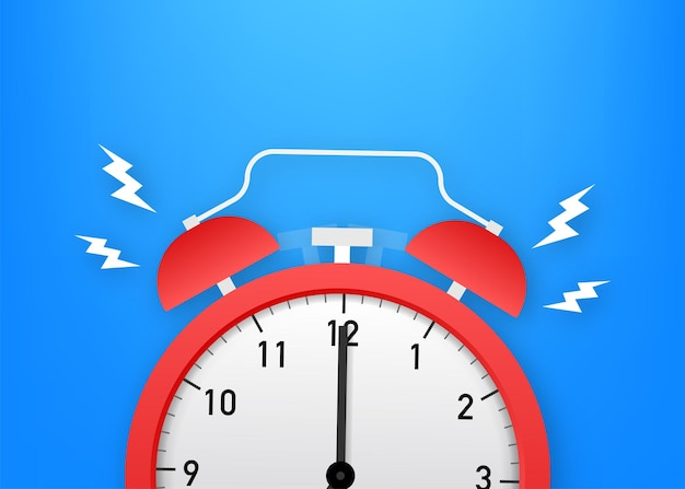 알람 시계 빨간색 기상 시간입니다. 벡터 재고 일러스트 레이 션