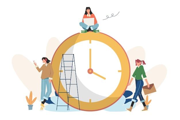 작업 시간 관리의 알람 시계 반지 개념
