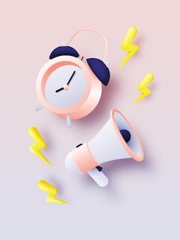 Alarm clock for sale banner or promotion in pastel color scheme background illustration