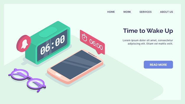 Alarm clock set  for time and early wake up with modern isometric style landing page