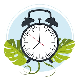 Alarm clock vector on the background of monstera leaves. vector illustration