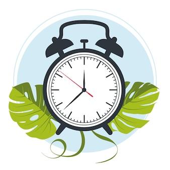 モンステラの葉の背景に目覚まし時計のベクトル。ベクトルイラスト