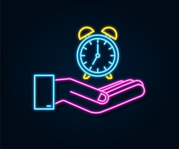 Alarm clock, wake-up time in hands on white background. neon icon. vector stock illustration.