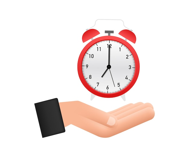 Alarm clock, wake-up time in hands on white background. vector stock illustration.