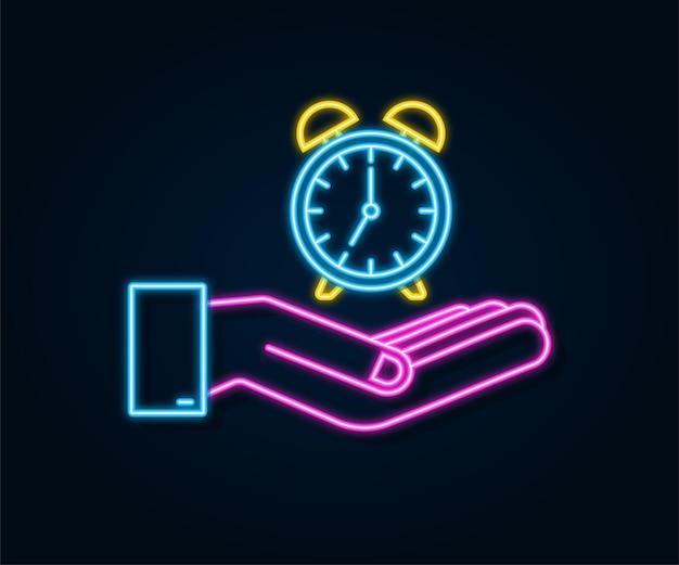 알람 시계, 흰색 바탕에 손에 기상 시간. 네온 아이콘입니다. 벡터 재고 일러스트 레이 션.