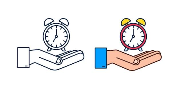 알람 시계, 흰색 바탕에 손에 기상 시간. 벡터 재고 일러스트 레이 션.