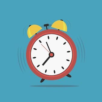 目覚まし時計。起床時間。ポップアートスタイル。ベクトルイラスト。