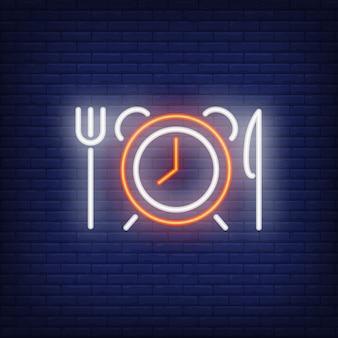 Alarm clock with fork and knife neon sign