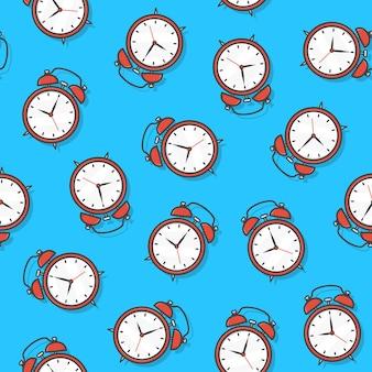 青い背景の目覚まし時計のシームレスなパターン。時計のテーマのベクトル図