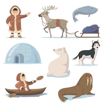 アラスカの要素と幸せなイヌイットのフラットセット