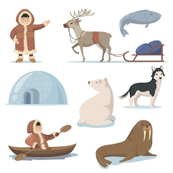 Alaska elements and happy inuits flat set