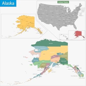 アラスカ州の地図