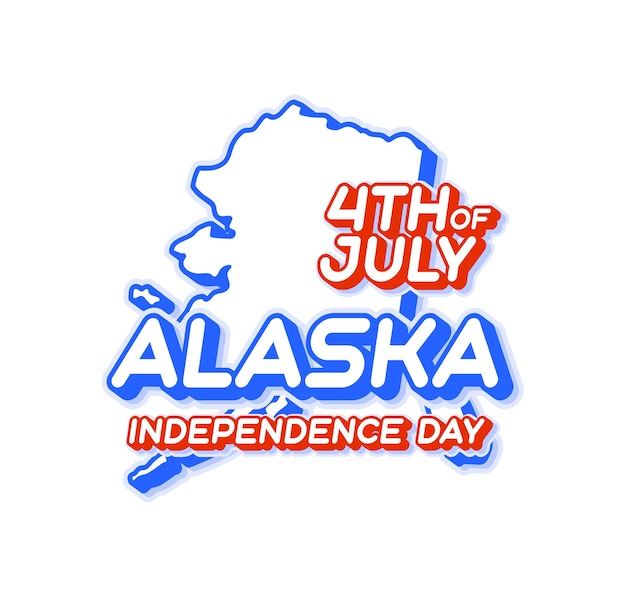 Alaska state 4th of july independence day with map and usa national color 3d shape of us
