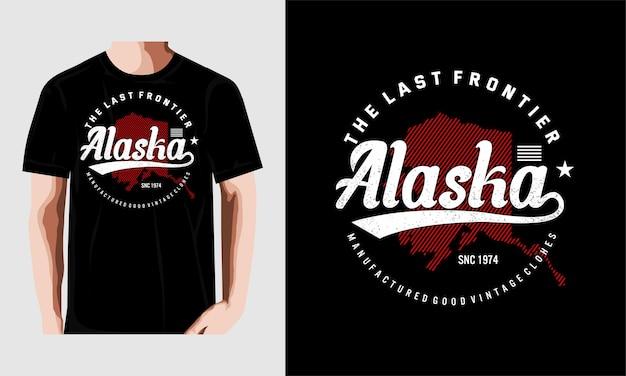 알래스카 인쇄 술 t 셔츠 디자인 벡터 premium 벡터