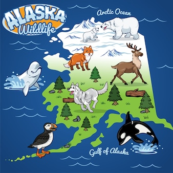 Alaska wildlife map in cartoon style