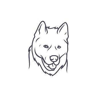 アラスカmalamute犬 - ベクトルロゴ/アイコンイラストマスコット