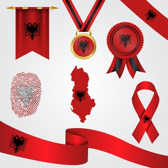 Albania flag in different shapes with map & pennant & medal & ribbon & fingerprint