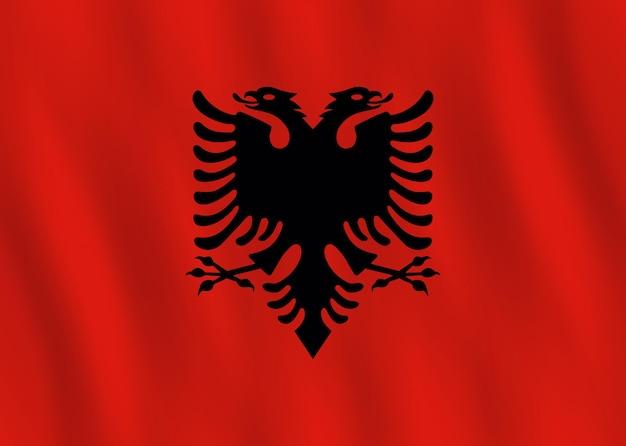 물결치는 효과가 있는 알바니아 국기, 공식 비율.