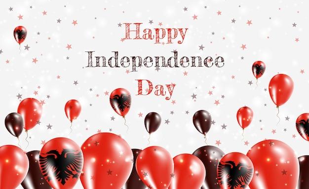 알바니아 독립 기념일 애국 디자인. 알바니아 국가 색의 풍선. 행복 한 독립 기념일 벡터 인사말 카드입니다.