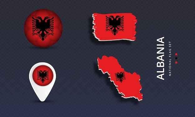 알바니아 국가 웨이브 플래그 세트