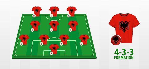 Albania national football team formation on football field.